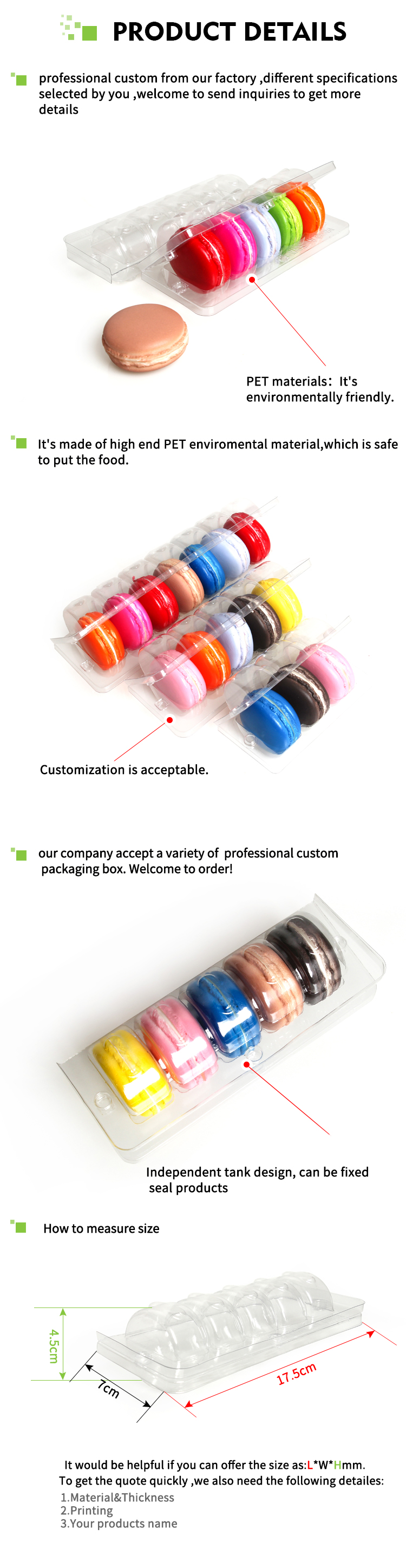 2019 Factory supplier macarons blister clear plastic macarons packaging box
